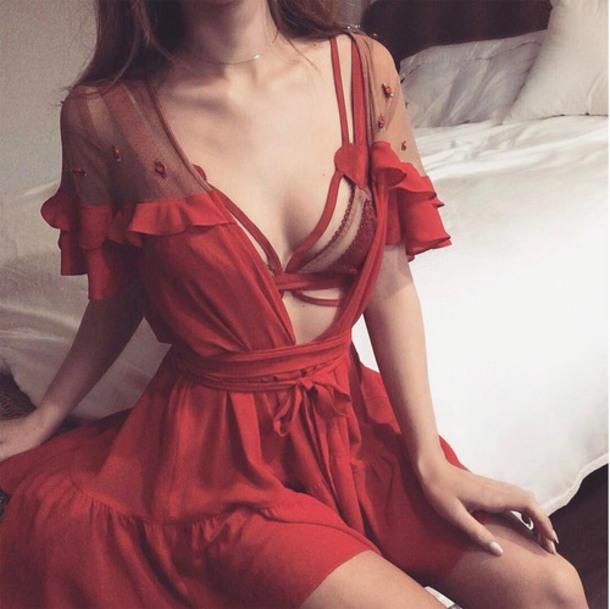 Underwear Red Sexy Instagram Bathrobe Seduce Luxury