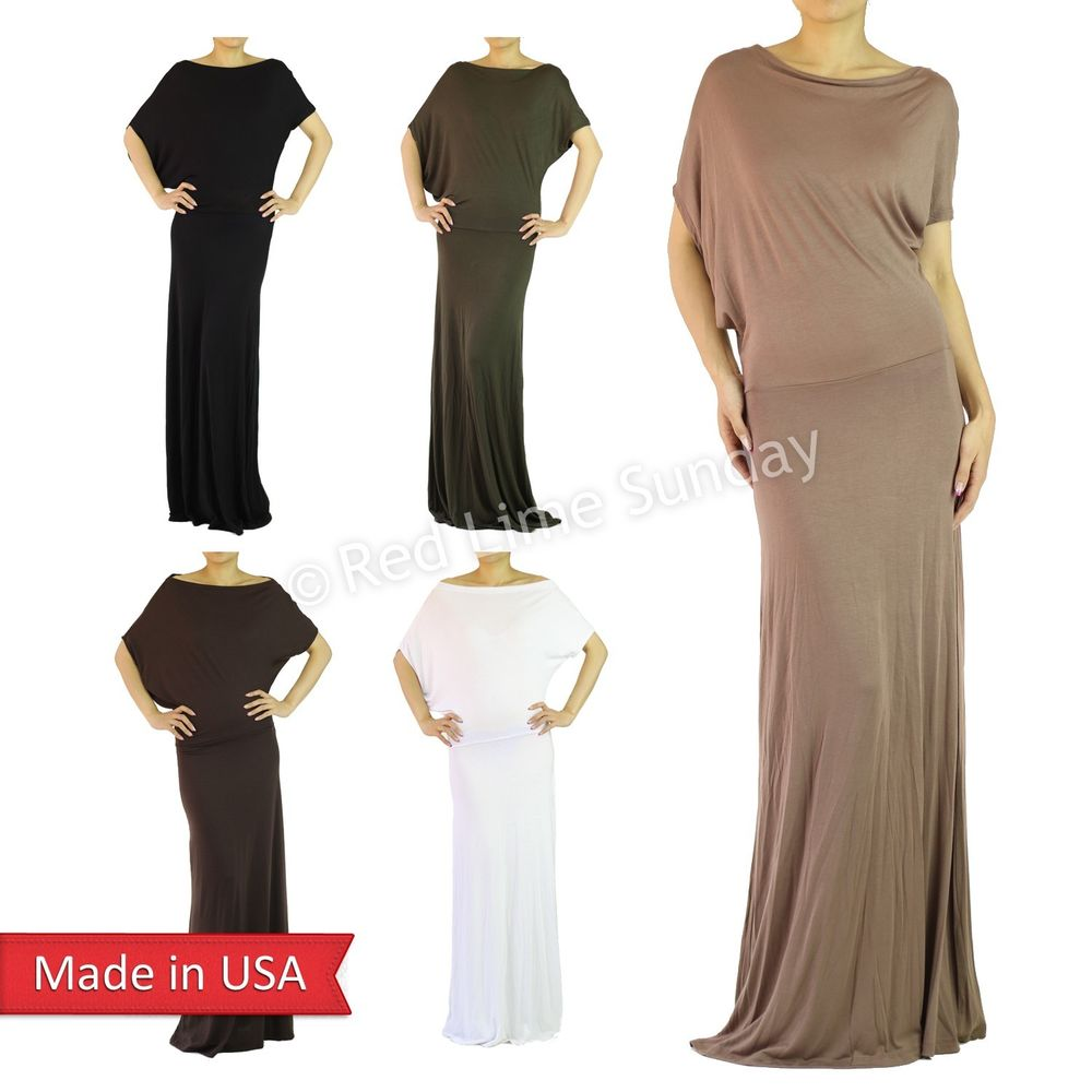Elegant Dolman Sleeve Asymmetrical Color Full Length Long Maxi Dress Reg Plus US