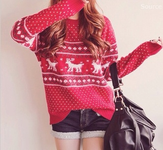 sweater christmas christmas sweater jumper cute sweaters fall outfits cute red sweater patterned sweater deer sweater deer pattern shorts bag rouge pullover baggy comfy
