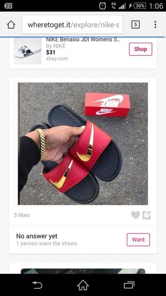 a2bb9d5d0 shoes nike slides red gold black