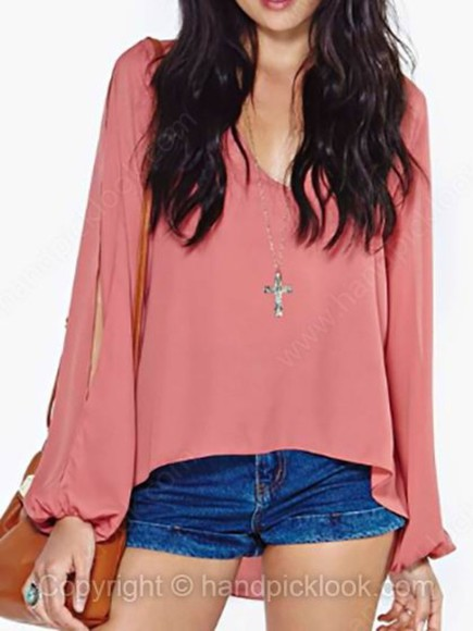 long sleeved chiffon blouse chiffon blouse long sleeve blouse long sleeved blouse light red long sleeve arm cutout arm cut out arm cut outs pink blouse pink high low high low top high low blouse