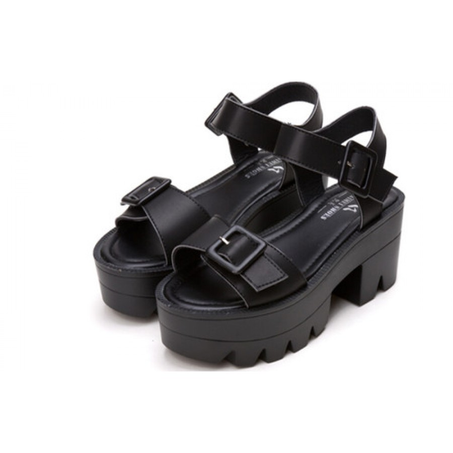 df15b5e180a3 Black Chunky Strappy Platform Buckle Sandals