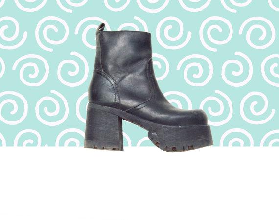 90s Mega Platform Black Chunky Platform Ankle Boots by Idlized