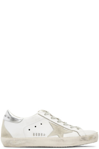 Golden goose white sneakers silver shoes