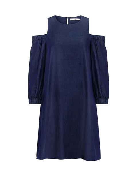Tibi dress denim dress denim dark cut out shoulder