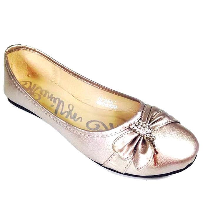Champagne ballet flats rhinestones bow detail