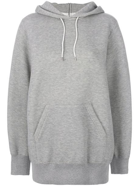 Sacai - oversized hoodie - women - Cotton/Nylon - 1, Grey, Cotton/Nylon