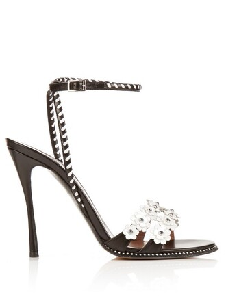 daisy embellished sandals leather sandals leather white black shoes