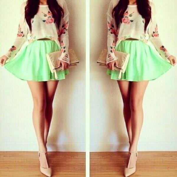 skirt sweater heels clutch shoes bag high heels