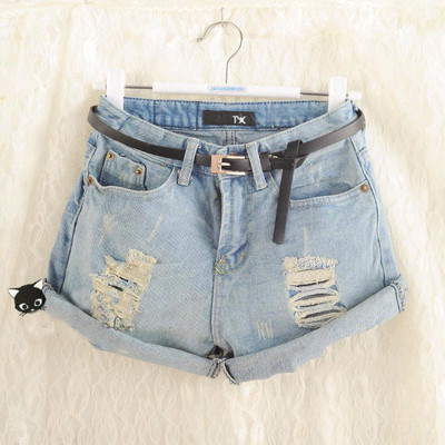 Retro Women Girls Light Blue High Waist Flange Hole Wash Jeans Denim Shorts-in Shorts from Apparel & Accessories on Aliexpress.com