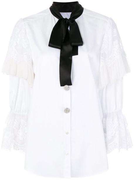 Dolce & Gabbana shirt bow women white cotton silk top