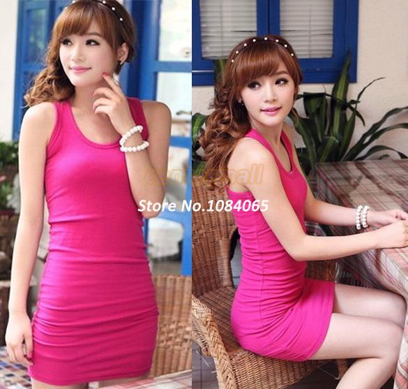 2014 Summer Long T-Shirt Design Lady Bottoming Solid Color Women One-piece Dresses Fashion Slim Hip Tight Tank Vest Dress 20178 | Amazing Shoes UK