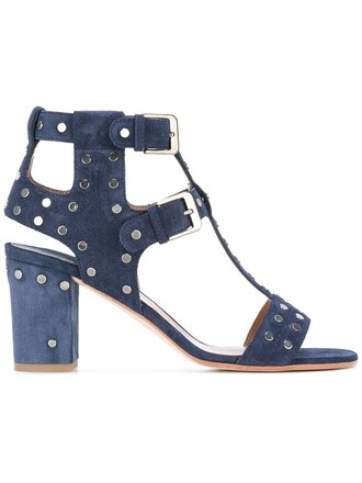 women sandals leather blue shoes