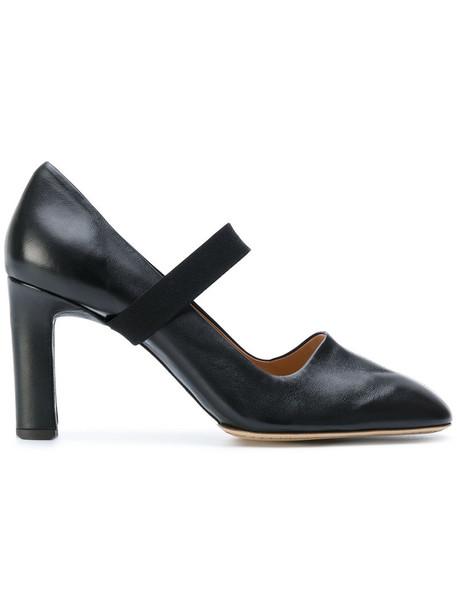 Santoni cross women pumps leather black shoes
