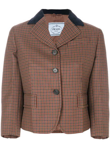 Prada jacket women leather cotton silk wool velvet brown