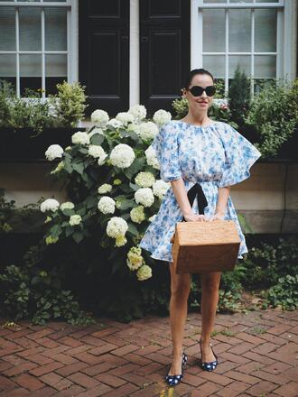dress sunglasses mini dress tumblr floral floral dress blue dress summer dress summer outfits bag boxed bag flats