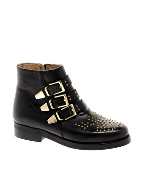 Asos amazon leather studded biker boots at asos