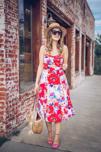 live more beautifully blogger dress bag hat shoes midi dress floral dress straw hat sandals pink heels spring outfits