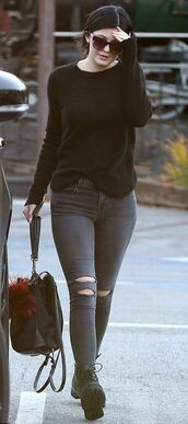 ripped jeans,kylie jenner,fall outfits,streetstyle,bag,shirt,pants,shoes,sunglasses,sweater