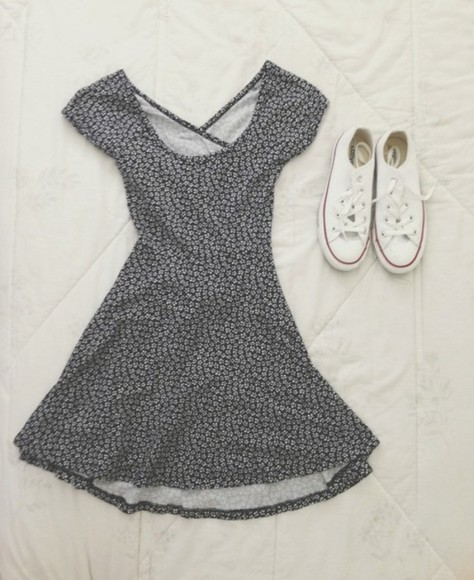 dress converse hipster soft grunge shoes printed dress printed floral black