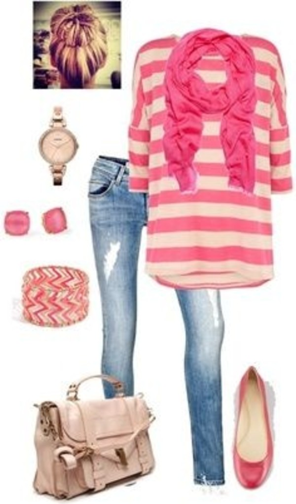 jeans bag cute outfits striped shirt pink ballet flats jewelry shoes scarf sweater pink and white cute sweaters pink and white stripes blouse casual lovely watch bracelets purse flats cute teenager cloths ripped jeans it's so adorable