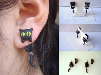 jewels cats holiday gift bff cat earrings earrings ring ears black cat jewelry earings cat earings piercing pierced animal black cats black