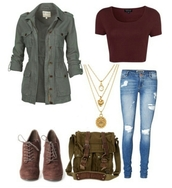 coat,jacket,high heels boots,jeans,burgundy,top,shoes,bag
