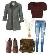 coat,jacket,high heels boots,jeans,burgundy,top,shoes,bag