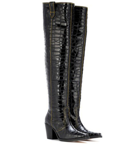 Ganni leather boots leather black shoes