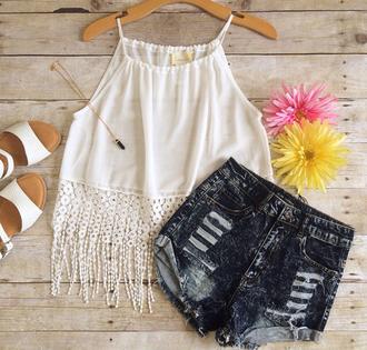 blouse cream half shirt crop tops halter top cream shirt tassel halter crop top shorts