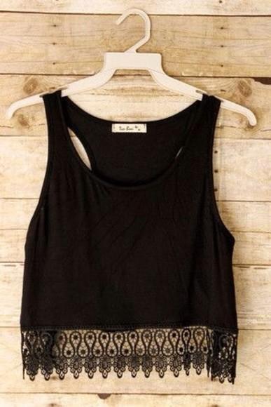 black top fringe tank top black lace crop tops shirt summer outfits crochet