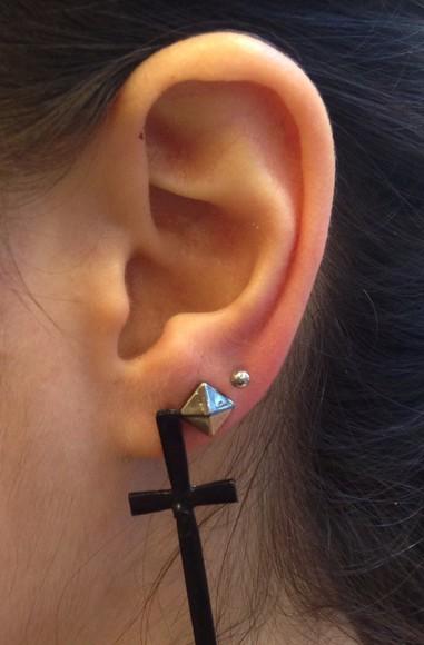 earrings jewels cross