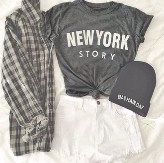 shirt grey t-shirt white shorts flannel shirt beanie grunge
