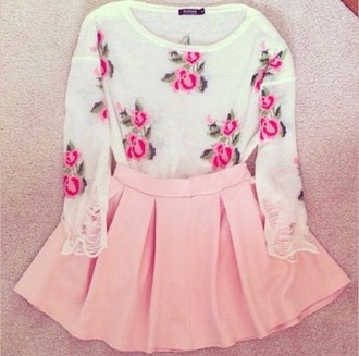 sweater fashion trendy girly cute pink skirt style floral shirt white white shirt pink skirt lovely pretty preppy
