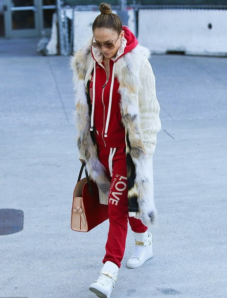 sweatpants sweatshirt jennifer lopez hoodie white sneakers high top sneakers