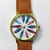 Colorful Feathers Watch, Vintage Style Leather Watch, Women Watches, Unisex Watch, Boyfriend Watch,