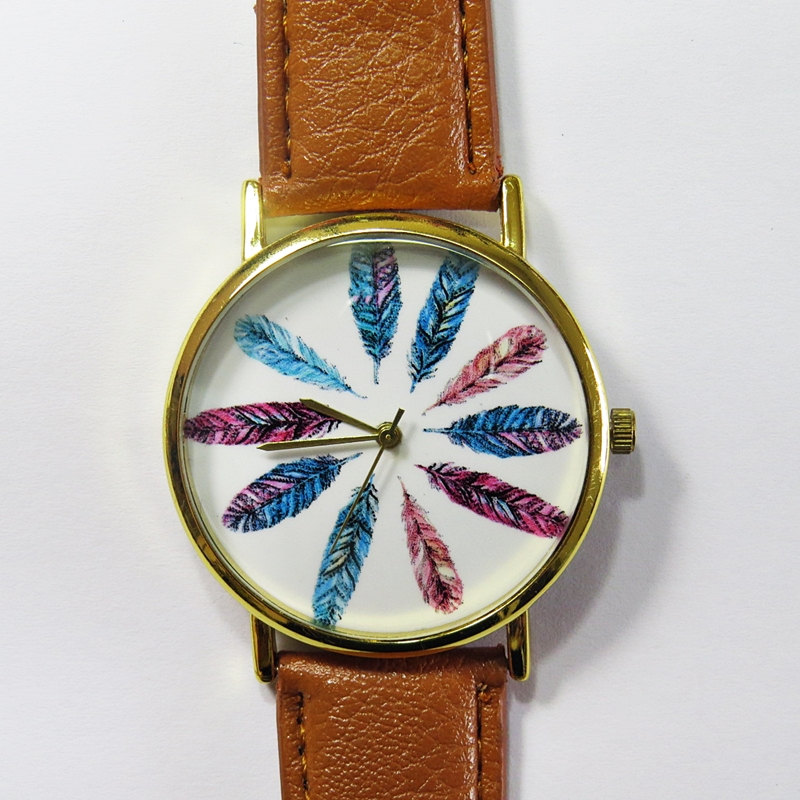 Colorful Feathers Watch, Vintage Style Leather Watch, Women Watches, Unisex Watch, Boyfriend Watch,