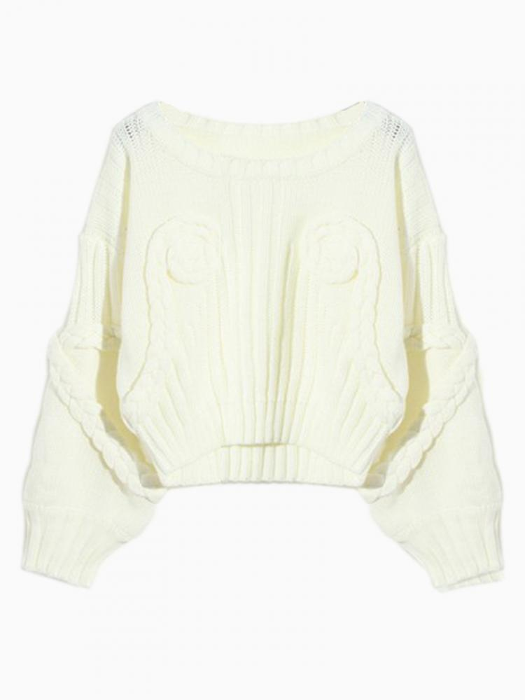 White 3D Flower Crop Sweater | Choies