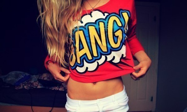 shirt clothes bang clouds red long sleeves t-shirt cartoon boom top comics pants t-shirt crop tops graphic tee oversized t-shirt redshirt bang bang shorts red sweater cartoon could be jumper...but i love it