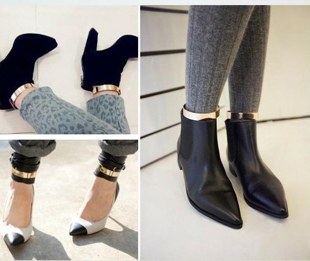 Pair Wrist Flat Mirrors Metallic Metal Ankle Leg Foot Cuff Bracelets Ring Bangle | eBay