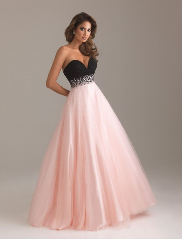 Chiffon and Tulle Sweetheart Strapless Neckline Ball Gown Prom Dress with Beaded Waistline - Special Occasion - RainingBlossoms