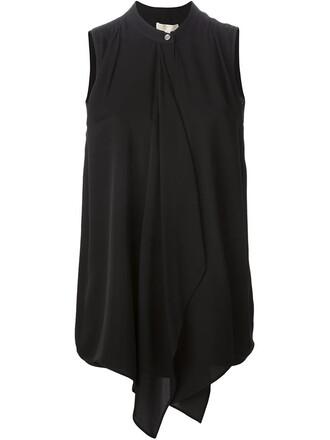 blouse sleeveless women black silk top