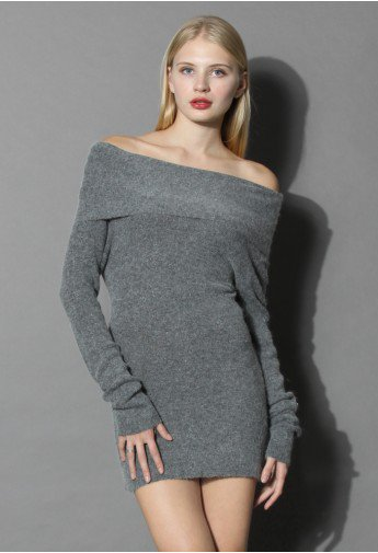Delicate Angora Off-shoulder Tunic in Grey - Retro, Indie and Unique Fashion