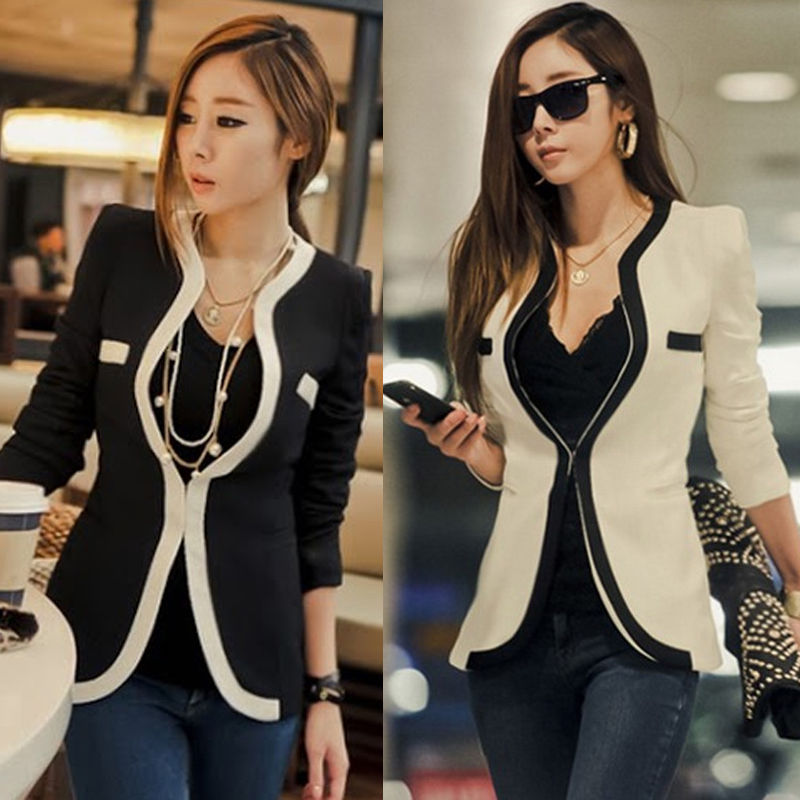 Fashion Womens White Black Colors Slim Suit Blazer Coat Jacket Outerwear New | eBay
