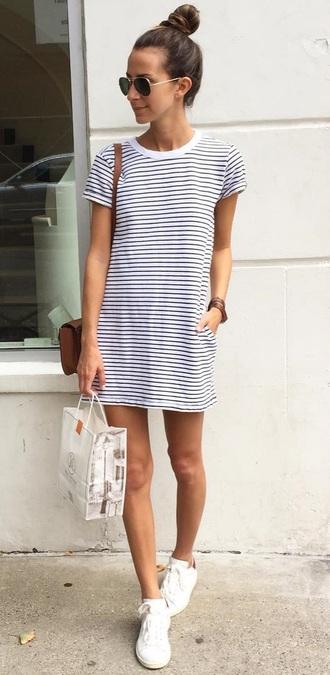 dress t-shirt dress stripes sneakers white something navy