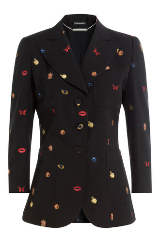 blazer embroidered wool multicolor jacket