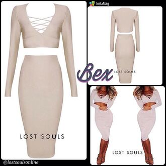 dress champagne dress long sleeve crop top bandage dress sexy dress party outfits