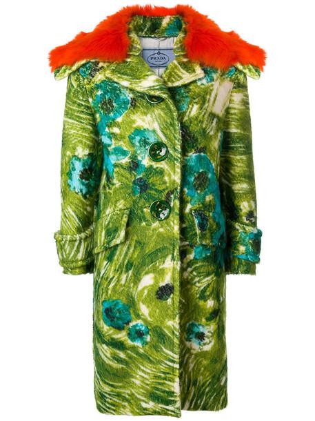 Prada coat printed coat women floral wool green