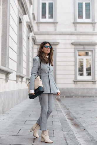 jacket blazer grey blazer pants grey pants cropped pants boots ankle boots white boots bag sunglasses cat eye matching set