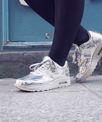shoes air max nike nike shoes nike sneakers nikes silver metallic metallic shoes sneakers white